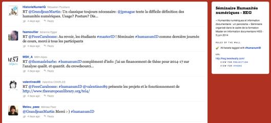 Les tweets projeté lors du séminaire Humanités numériques